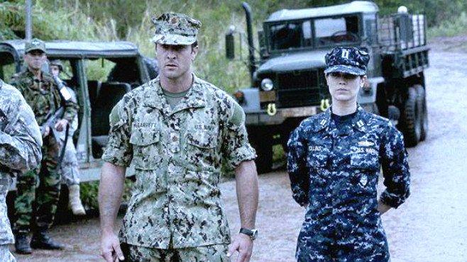 Navy SEAL McGarrett on left, in Army uniform